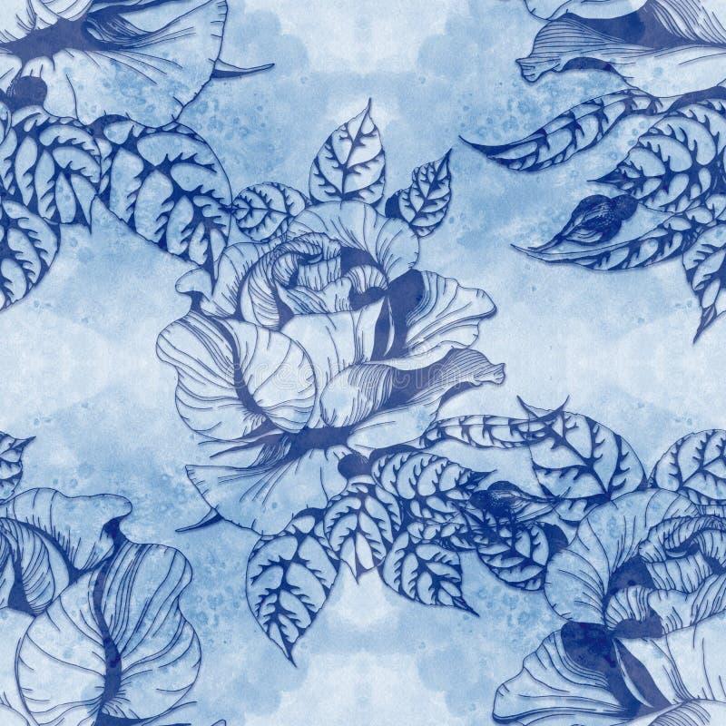 Blüht a-Niederlassung von Rosen mit Blättern, Blumen und den Knospen watercolor Nahtloser Hintergrund vektor abbildung