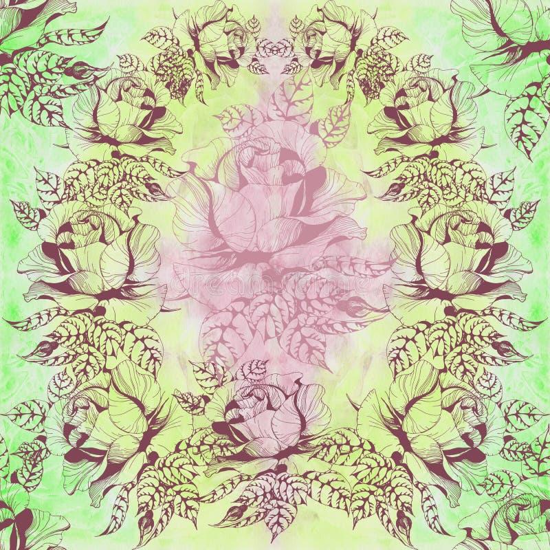 Blüht a-Niederlassung von Rosen mit Blättern, Blumen und den Knospen watercolor Nahtloser Hintergrund Collage von Blumen und von  stock abbildung