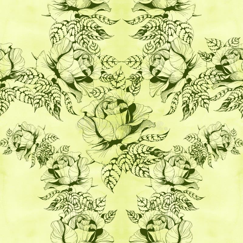 Blüht a-Niederlassung von Rosen mit Blättern, Blumen und den Knospen watercolor Nahtloser Hintergrund lizenzfreie abbildung