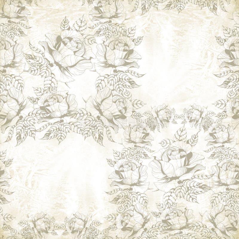 Blüht a-Niederlassung von Rosen mit Blättern, Blumen und den Knospen watercolor Nahtloser Hintergrund stock abbildung