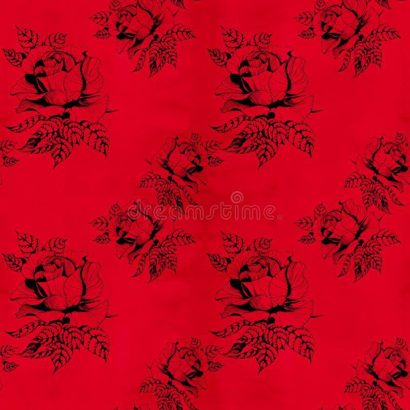 Blüht a-Niederlassung von Rosen mit Blättern, Blumen und den Knospen watercolor Nahtloser Hintergrund Collage von Blumen und von  lizenzfreie abbildung