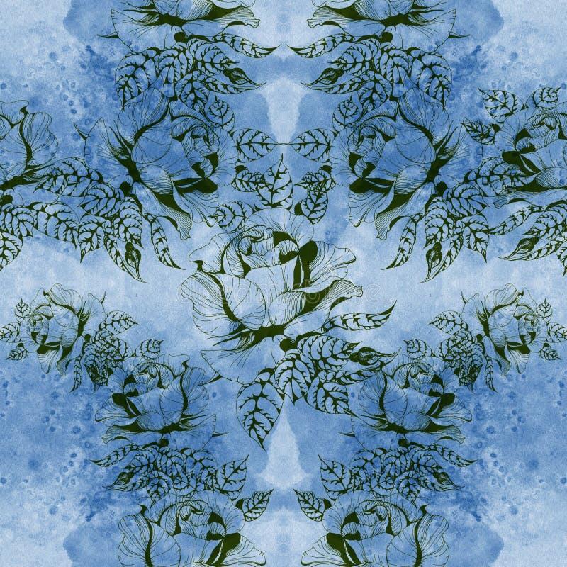 Blüht a-Niederlassung von Rosen mit Blättern, Blumen und den Knospen watercolor Nahtloser Hintergrund Collage von Blumen und von  vektor abbildung
