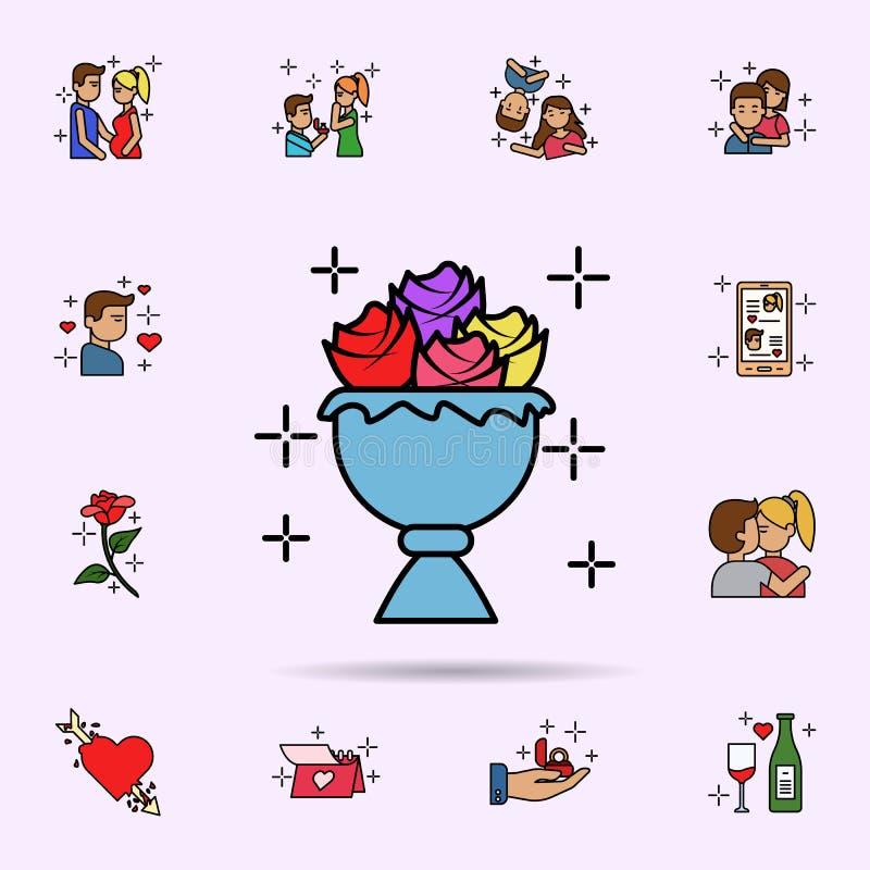 Blüte, Dekoration, Rose, Blumenstraußikone r lizenzfreie abbildung