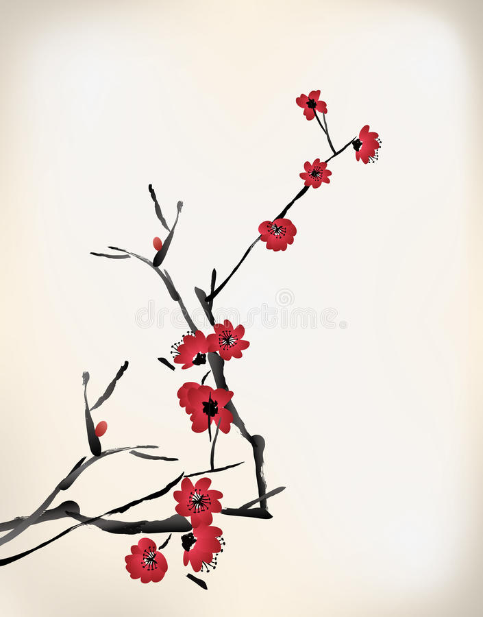 Blütenmalerei lizenzfreie abbildung