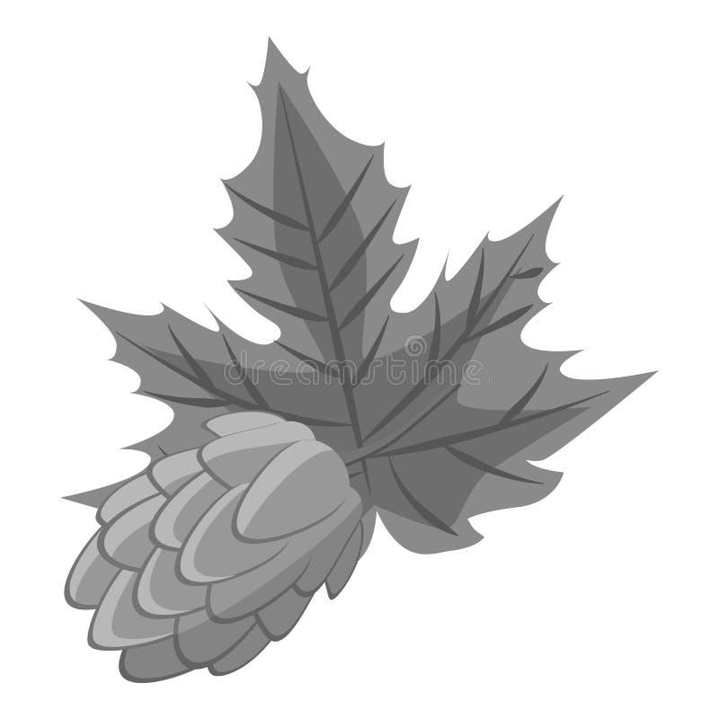 Blütenzapfen- des Hopfensikone, graue einfarbige Art stock abbildung