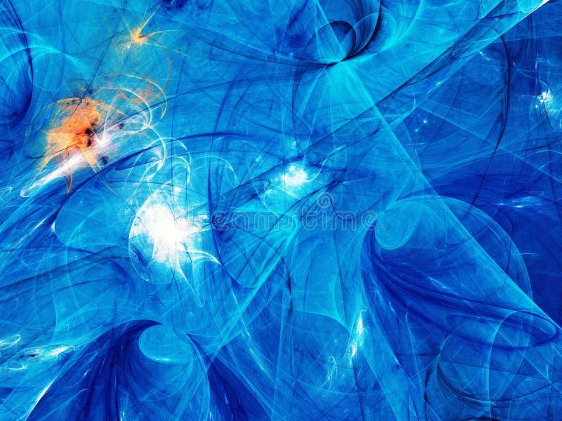 Bl? abstrakt illustration f?r tolkning f?r fractalbakgrund 3d royaltyfri fotografi