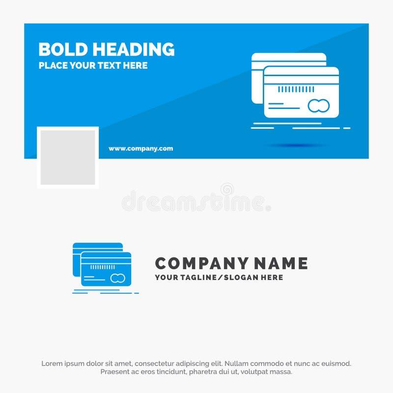 Bl? aff?r Logo Template f?r att packa ihop, kort, kreditering, debitering, finans Design f?r Facebook Timelinebaner reng?ringsduk royaltyfri illustrationer