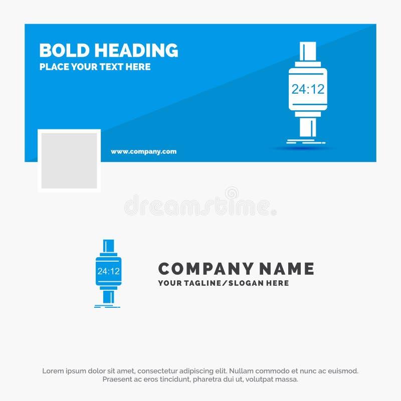 Bl? aff?r Logo Template f?r den smarta klockan, smartwatch, klocka, ?pple, android Design f?r Facebook Timelinebaner reng?ringsdu stock illustrationer