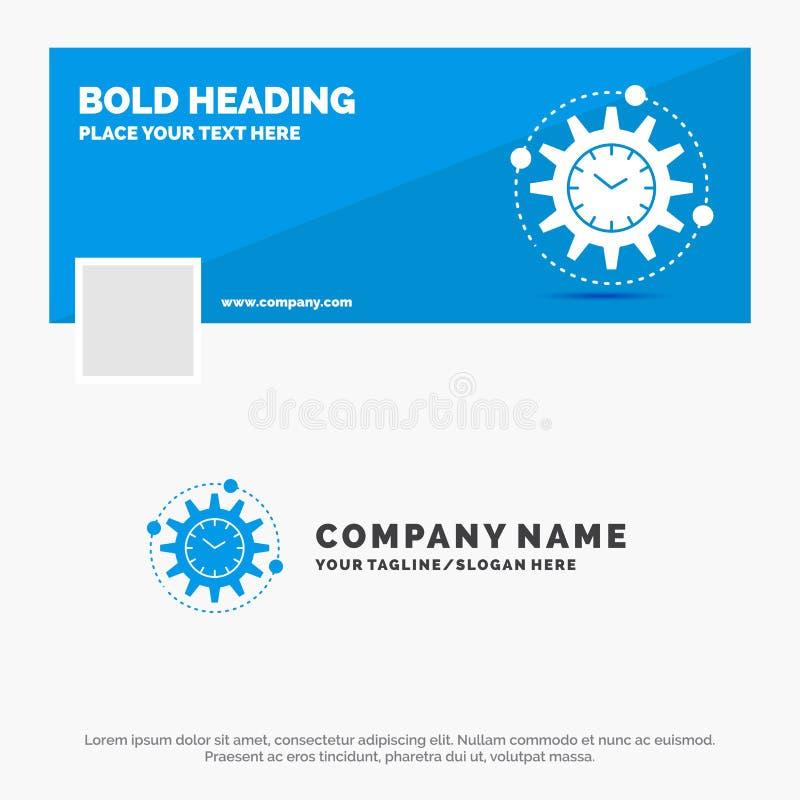 Bl? aff?r Logo Template f?r effektivitet, ledning som bearbetar, produktivitet, projekt Design f?r Facebook Timelinebaner vektor royaltyfri illustrationer