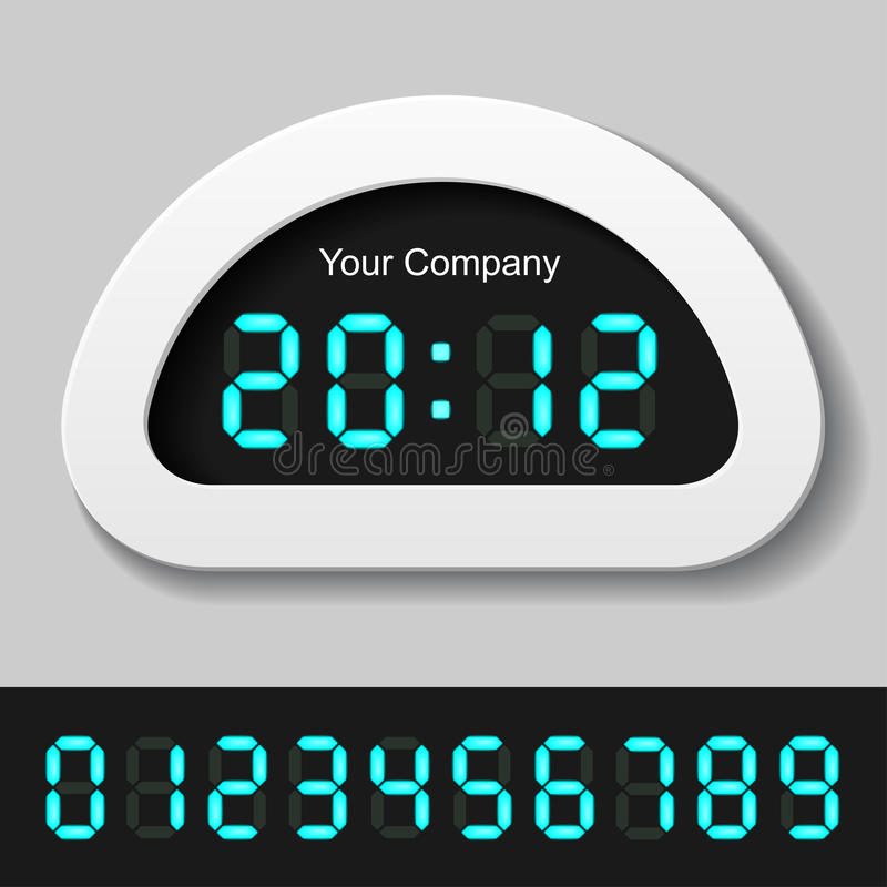 blåa digitala glödande nummer för klockaräknare royaltyfri illustrationer