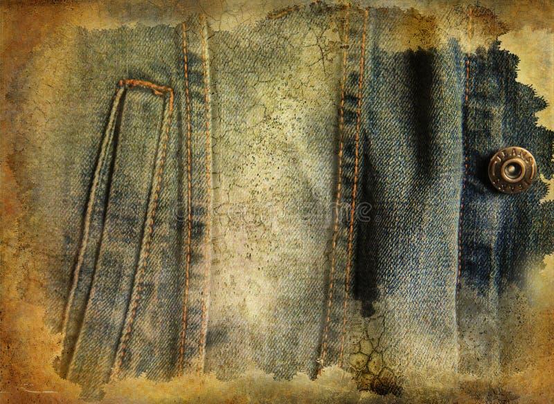 blå grungejeans för bakgrund stock illustrationer