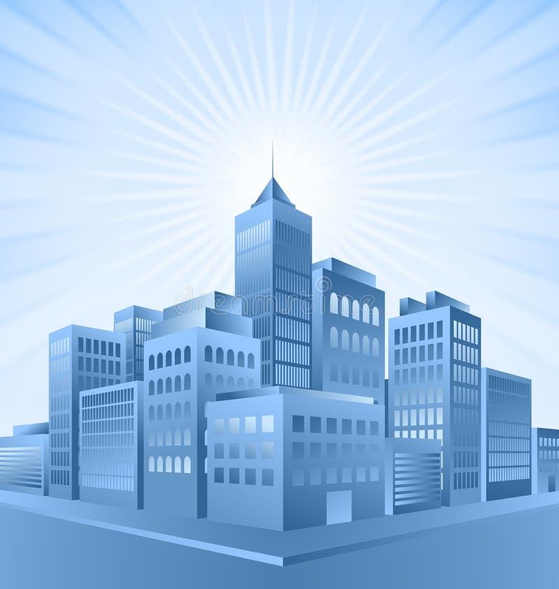 blå stadssoluppgång royaltyfri illustrationer