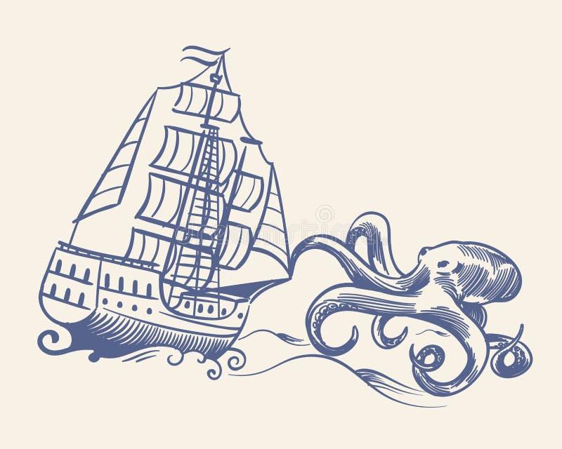 Bl?ckfiskmonster Skissa medeltida segelbåttappning piratkopierar skeppet som körs i väg från kraken, och den nautiska loppvektorn royaltyfri illustrationer