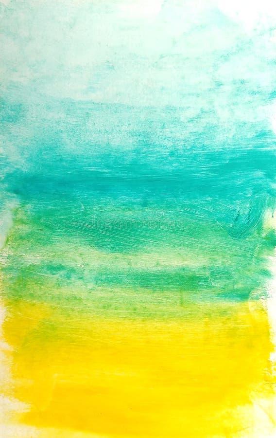 bl? f?rgad paper texturvattenf?rg f?r abstrakt bakgrund Abstrakta handmålarfärgblått och gul gradering royaltyfri illustrationer