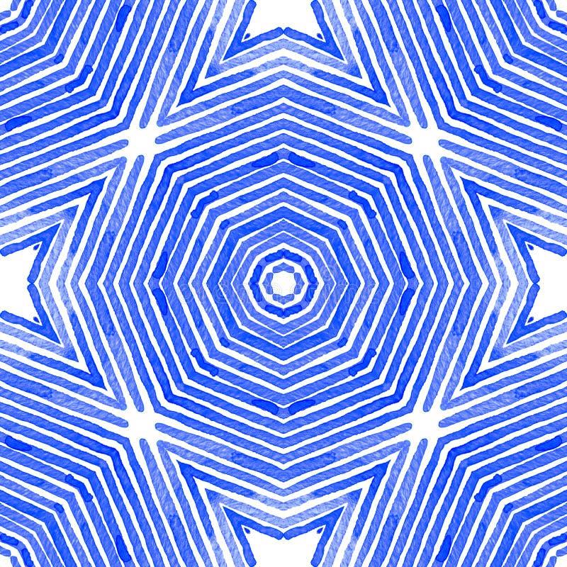 Bl? geometrisk vattenf?rg seamless gullig modell royaltyfri illustrationer