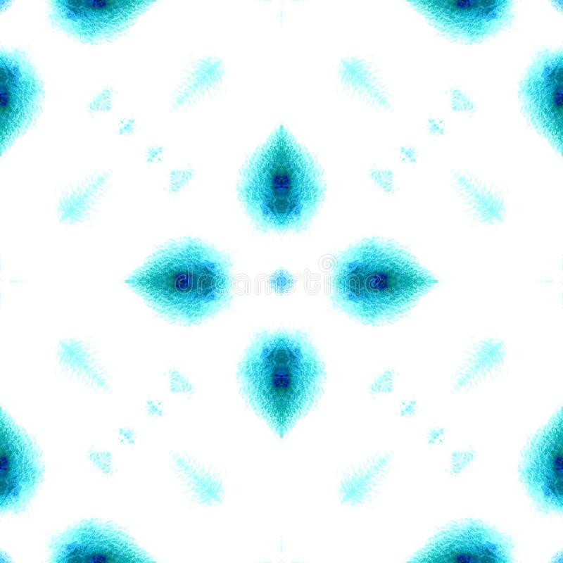 Bl? geometrisk vattenf?rg seamless modell Yttersidaprydnad royaltyfri bild