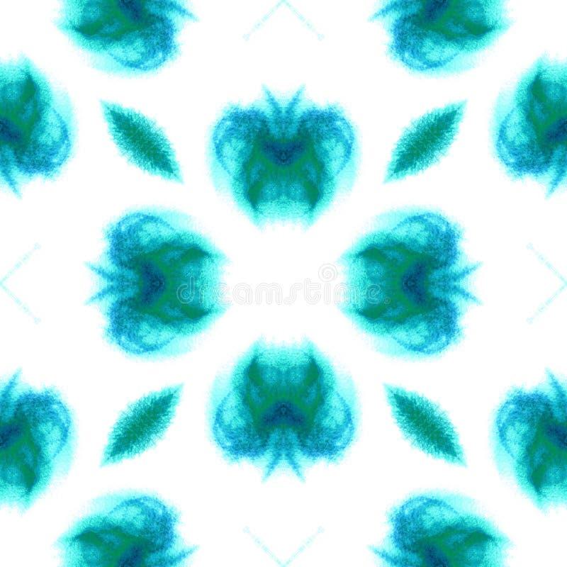 Bl? geometrisk vattenf?rg seamless modell Yttersidaprydnad stock illustrationer