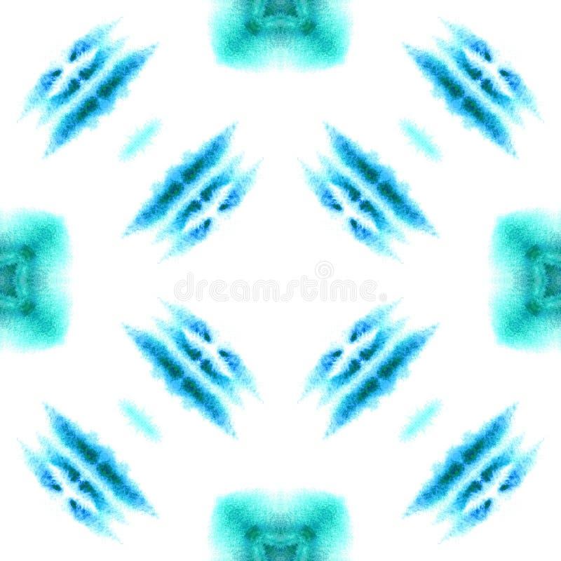 Bl? geometrisk vattenf?rg seamless modell Yttersidaprydnad arkivbilder