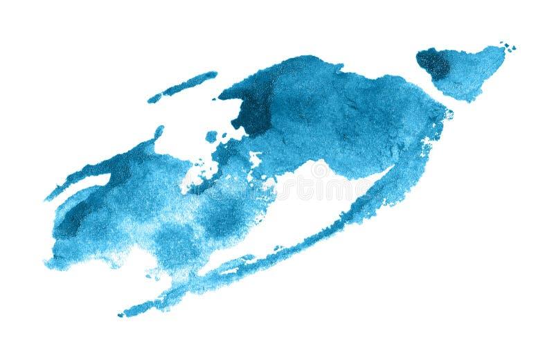 bl? gjord sj?lvvattenf?rg f?r abstrakt bakgrund Färgrik aquarellemålarfärgtextur borsteslagl?ngd som isoleras p? vit Livlig färgp stock illustrationer