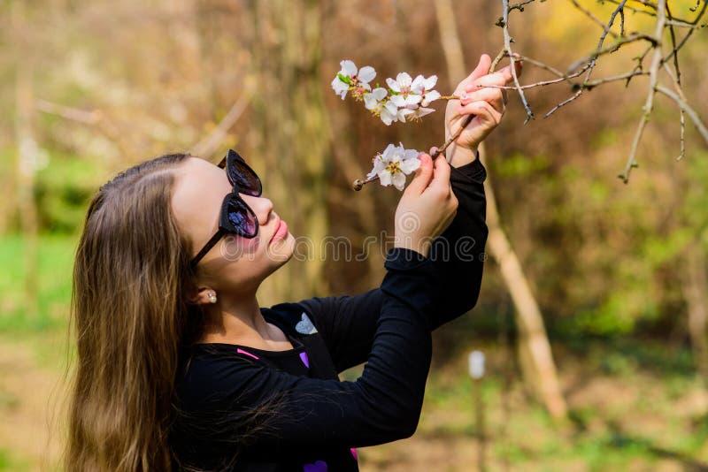 bl?hende Blumen des Geruchs des kleinen M?dchens Gl?ckliches Kind mit Kirschbl?te Farbige handgemachte Abbildung Kirschbl?te Nat? stockfotografie