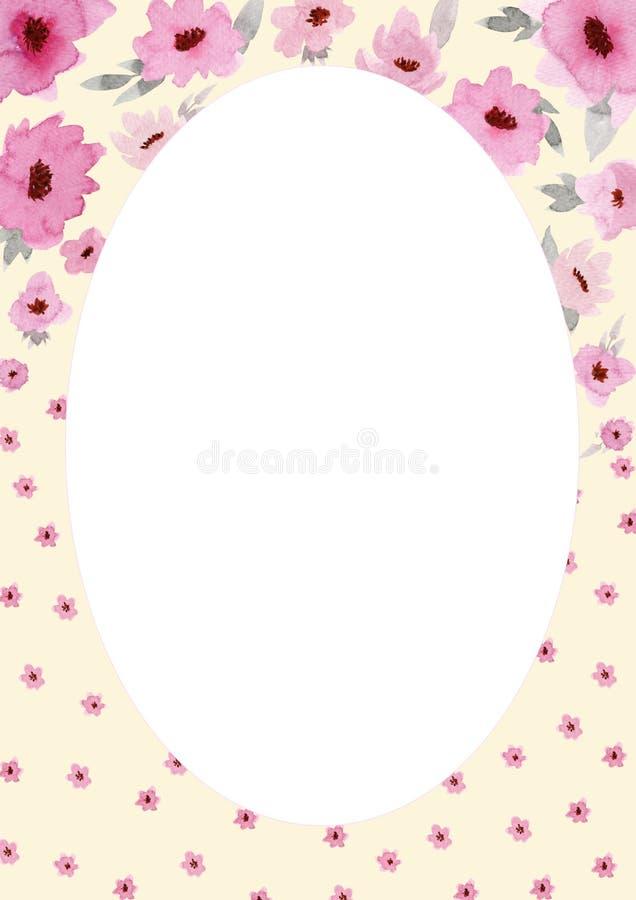 Bl?ht Zusammensetzung Ovaler rosafarbener Rahmen gemacht von den rosa Blumen und von den Blättern mit Raum für Text lizenzfreie abbildung