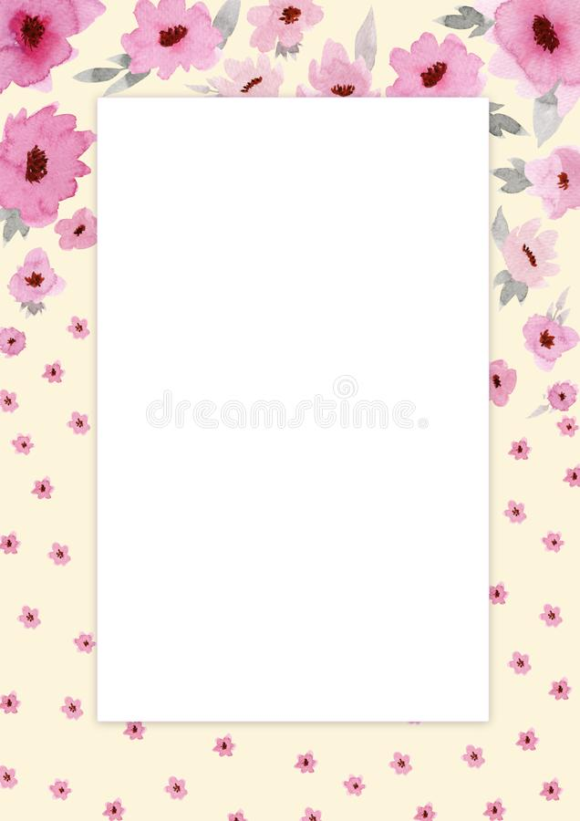 Bl?ht Zusammensetzung Rechteckiger rosafarbener Rahmen gemacht von den rosa Blumen und von den Blättern mit Raum für Text stock abbildung