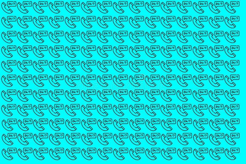 Bl? illustration av appell 24 7 Tillg?nglig 24 illustration 7 Mallen kan anv?ndas f?r artiklar och att skriva ut, illustrationavs arkivfoto