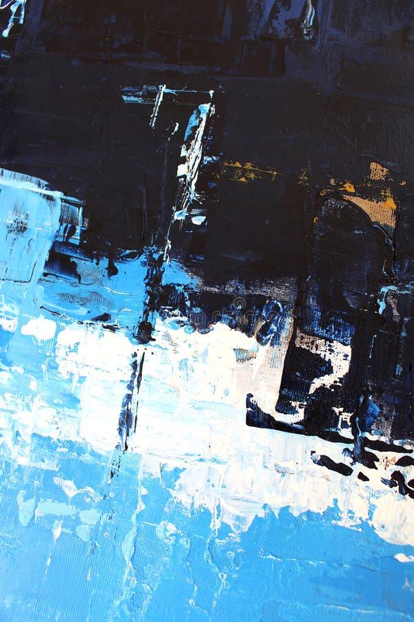 Bl?a ljusa f?rger p? kanfas flod f?r m?lning f?r skogliggandeolja abstrakt konstbakgrund Oljem?lning p? kanfas F?rgtextur Fragmen royaltyfri illustrationer