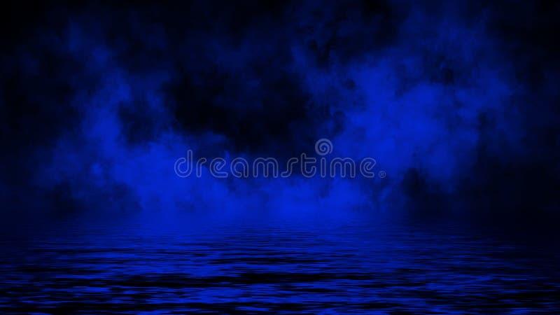 Bl?a rullande b?ljor av r?kmistmoln fr?n torr is ?ver det nedersta ljuset med reflexion i vatten vektor f?r bild f?r designelemen arkivfoton