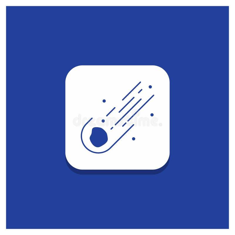 Bl? rund knapp f?r asteroiden, astronomi, meteor, utrymme, kometsk?rasymbol vektor illustrationer