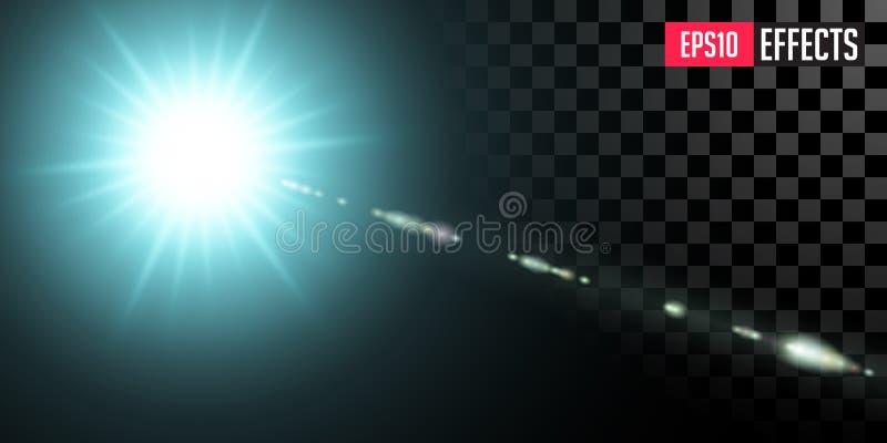 bl? stj?rna För science fictionsakkunnig för vektor ljus effekt för genomskinlig Lens signalljus royaltyfri foto