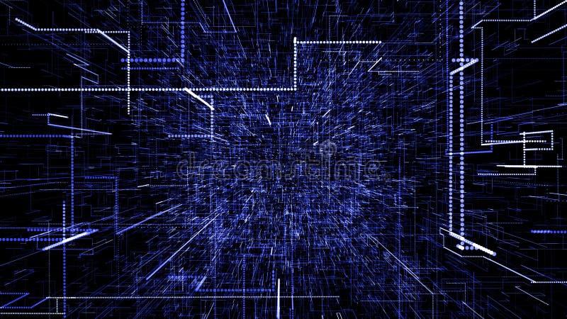 Bl?tt abstrakt faktiskt utrymme flyg f?r illustration 3d till och med tunnelen f?r digitala data vektor illustrationer