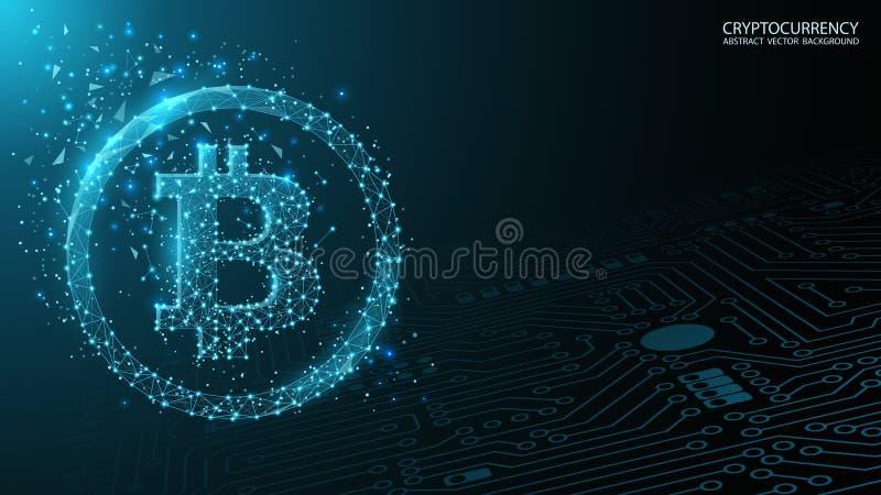 bl?tt futuristic f?r bakgrund Bitcoin och blockchain Låg poly bild Elektronisk cryptocurrency och teknologi tangentbordet och mus stock illustrationer