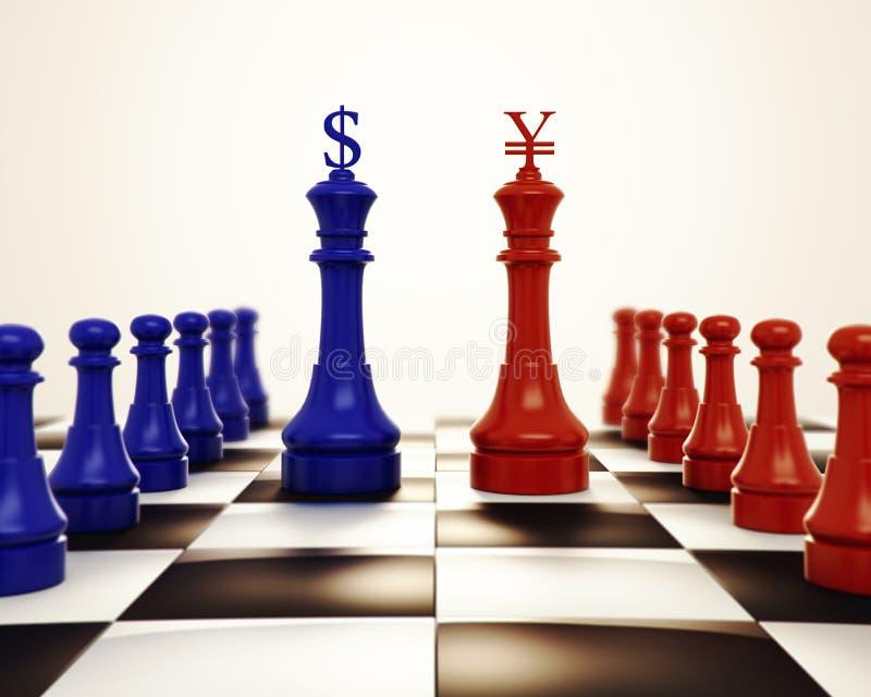 Bl?tt schack mot r?tt schack med logo f?r dollar- och yuanrenminbi tecken vektor illustrationer