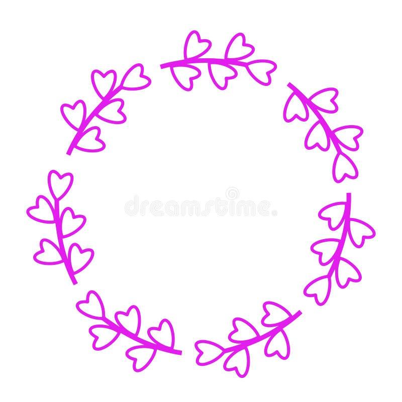 Bl?tthav, Sky & moln Enkel kvinnlig modell f?r kortet, inbjudan, tryck Moderiktig garnering med härliga rosa blom- ramhjärtor stock illustrationer