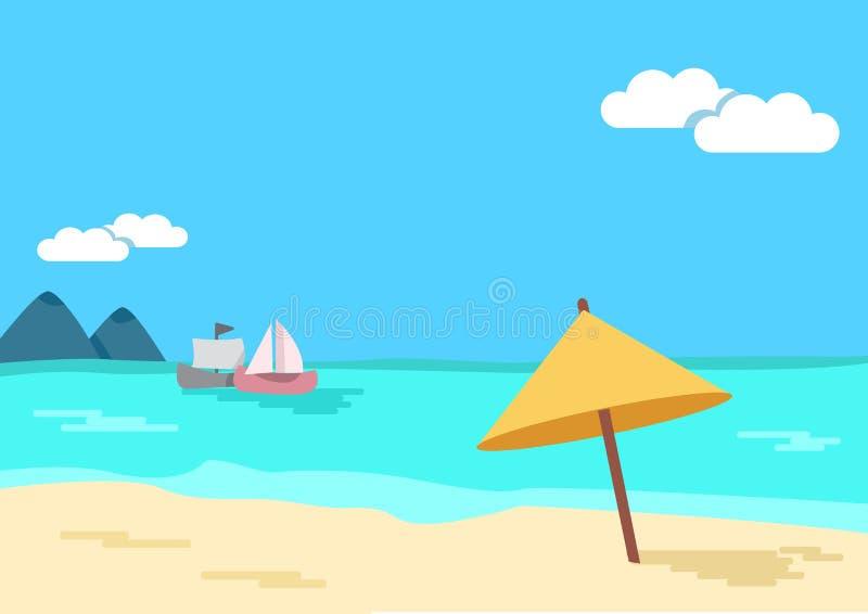 Bl?tthav, Sky & moln tropisk seascape Strandparaply, hav, sandig kust, berg, skepp vektor stock illustrationer