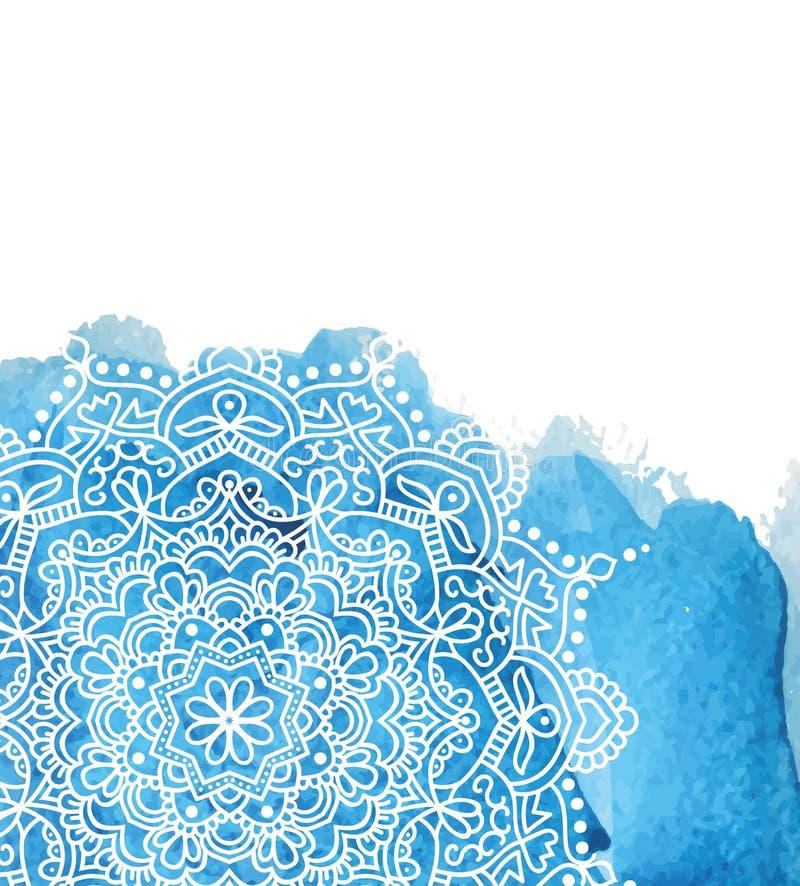 Bl? vattenf?rgm?larf?rgbakgrund med vit hand drog rundaklotter och mandalas design av bakgrunden royaltyfri illustrationer