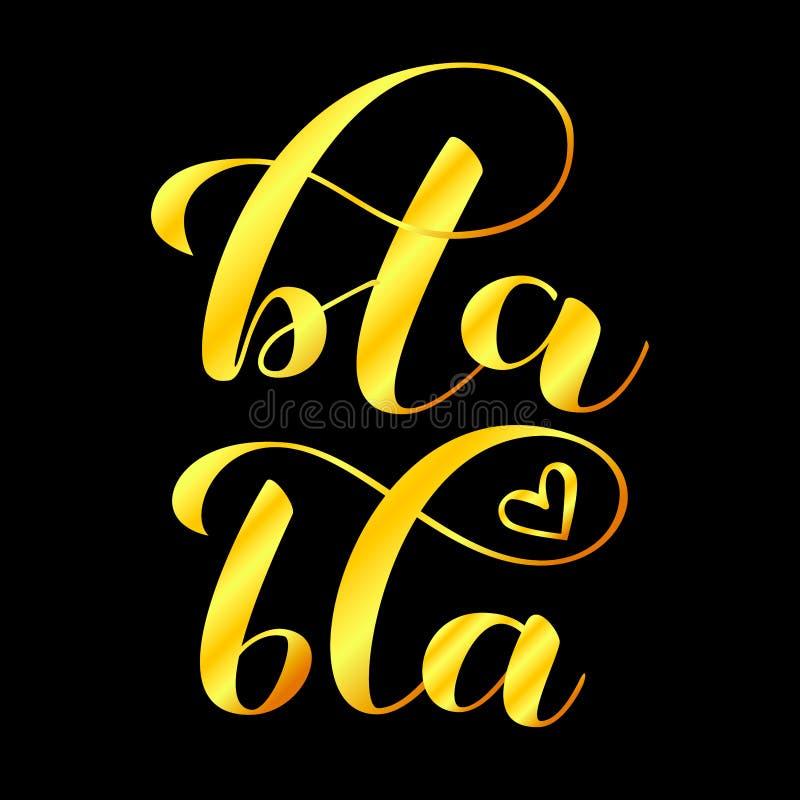 Bla-bla bokstäver Vektorillustration för kläder eller kort royaltyfri illustrationer