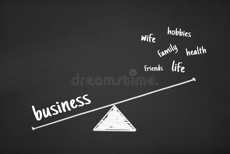 Blaance im Wort-Geschäfts-Gesundheits-Leben auf Kreide-Brett vektor abbildung