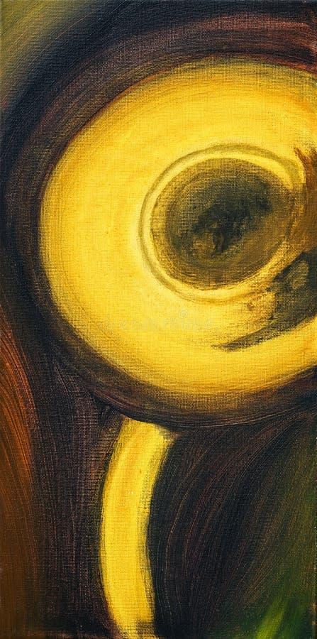 Blaasinstrument in messing Misschien een trompet of een saxofoon vector illustratie