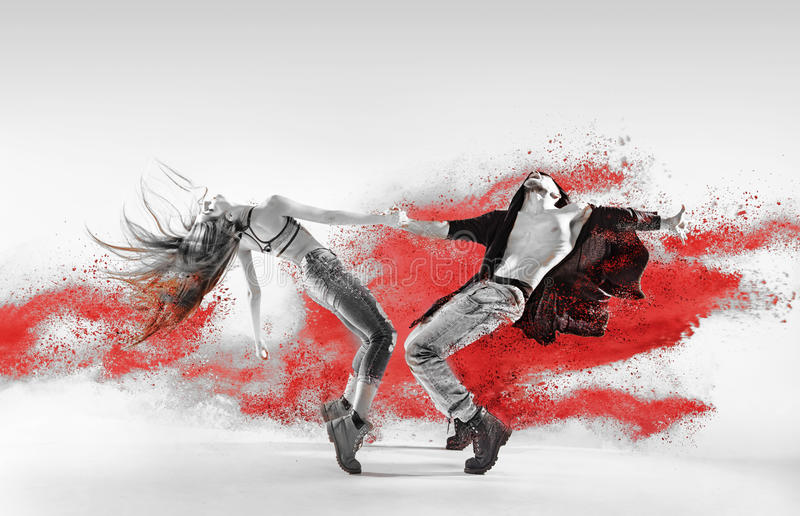 Blac&white portrait of talented hip hop dancers. Blac&white portrait of talented, young hip hop dancers stock images
