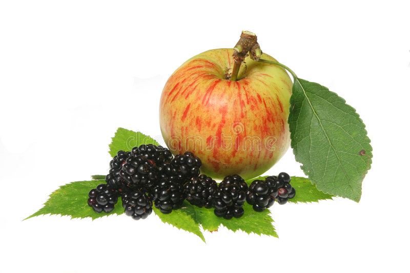 Blacberries and apple royalty free stock image