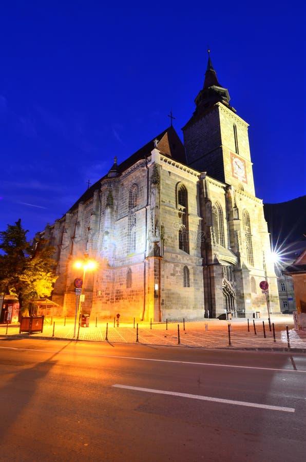 Blach Church nightview, Brasov, Romania stock photography