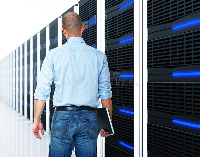 Black 3d server and man stock images