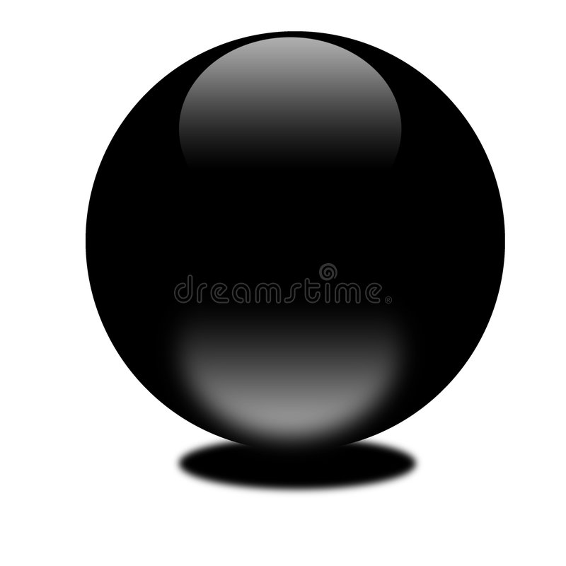 Black 3d sphere on white background stock image