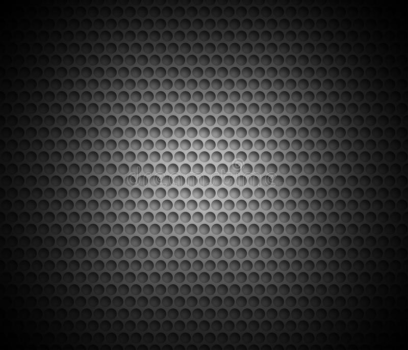 Black abstract background with metal background. Grid of round cells. Background with 3D effect for backgrounds, wallpapers, covers and your design stock illustration