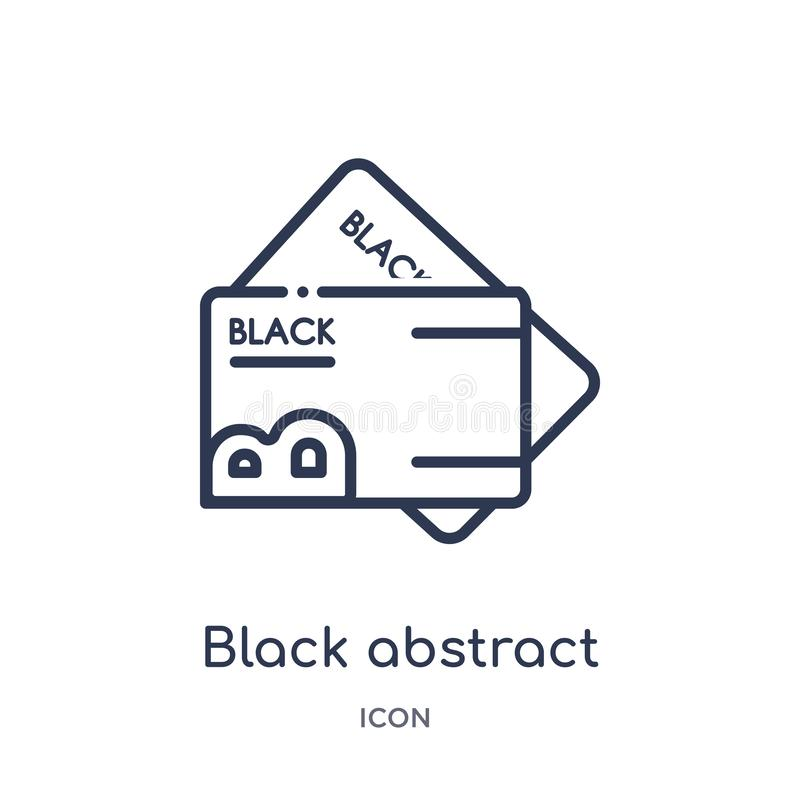 black abstract business card icon from other outline collection. Thin line black abstract business card icon isolated on white stock illustration
