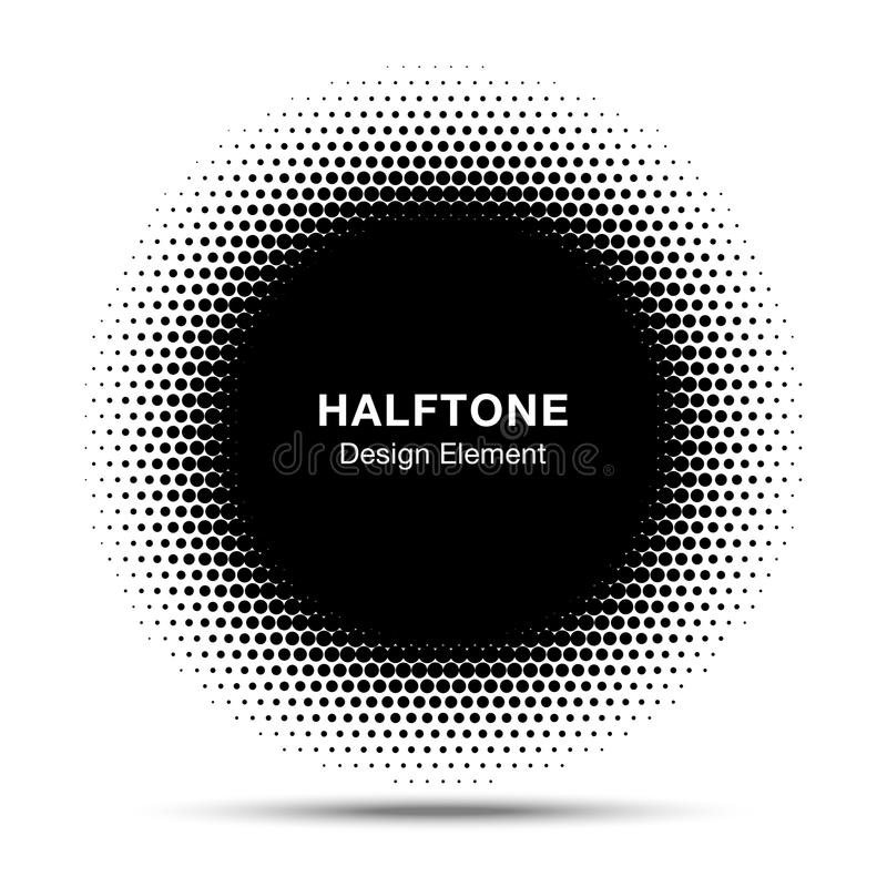 Black Abstract Circle Frame Halftone Dots Logo Design. Element for medical treatment, cosmetic. Circle Border Icon halftone dot vector elements. Halftone circle royalty free illustration