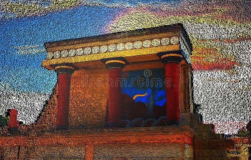 Black abstract heap of cubes backdrop. Contrast 3d rendering geometric polygons, as rough wall. North Entrance of Knossos Palace. Black abstract heap of cubes royalty free stock images