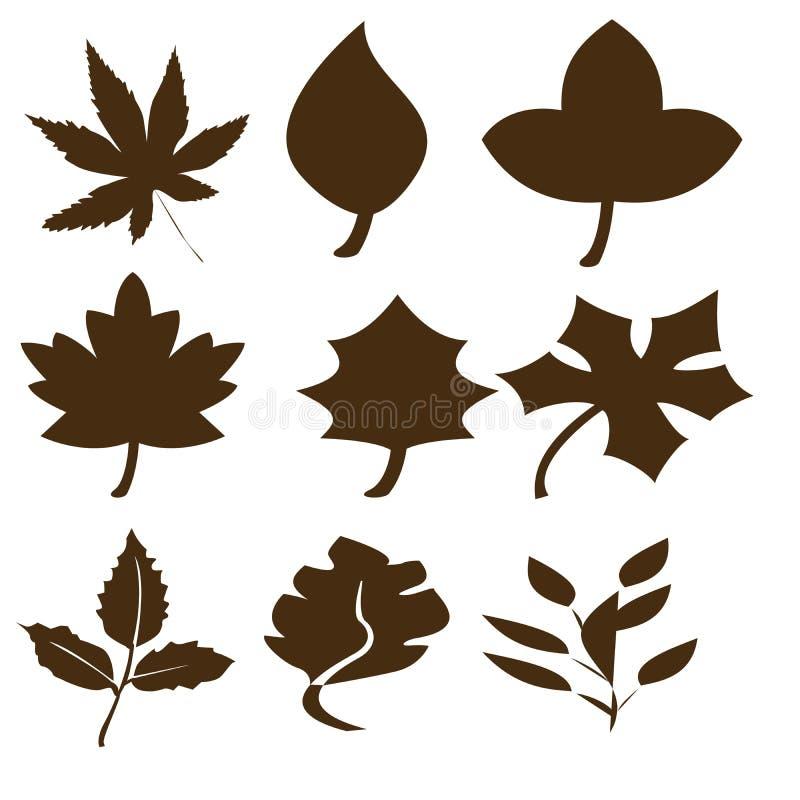 Black abstract leaf shapes royalty free illustration